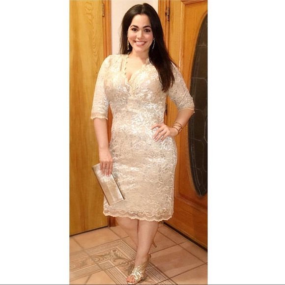 Kiyonna Luxe Lace Plus Size Dress in Gold